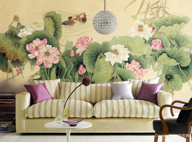 新中式沙发背景液体墙纸装修效果图片大全