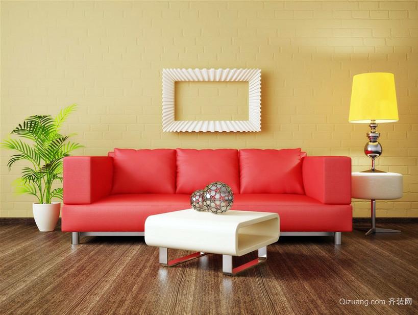 明亮彩色小客厅沙发背景墙设计效果图