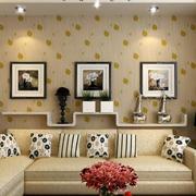 现代都市102平客厅沙发背景墙设计效果图