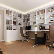 118平米深色调书房设计装修效果图