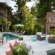现代美式大型庭院泳池