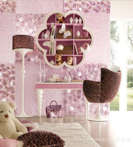 现代简约风格粉色系卧室梳妆台装饰