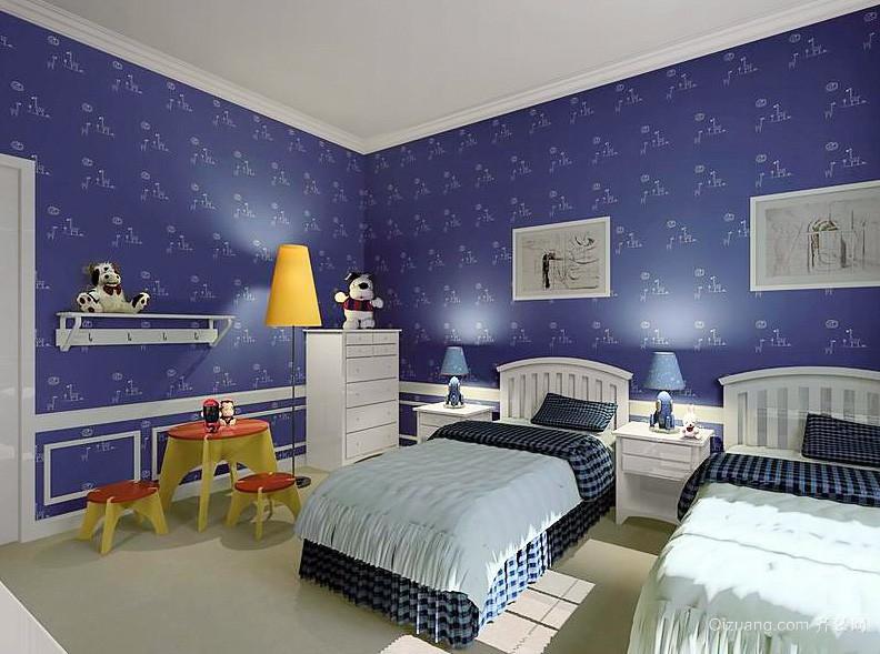 儿童房蓝色卡通液体墙纸效果图片大全