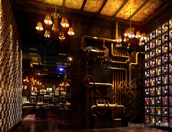 大型欧式风格奢华深色系酒吧设计效果图