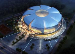 大型现代风车样式体育馆外观造型效果图