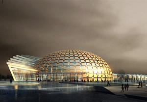 现代简约风格半球形炫酷体育馆装修效果图