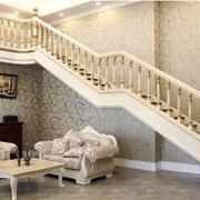 欧式浅色系大户型复式楼楼梯装修效果图