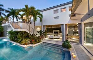 奢华别墅庭院户外泳池装修设计效果图