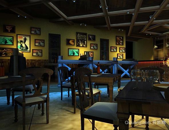 美式简约风格酒吧照片墙装饰效果图