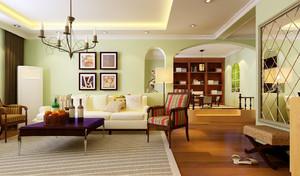 混搭错层家居客厅沙发背景墙设计效果图