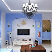 地中海风格公寓客厅影视墙效果图大全