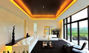 现代舒适别墅客厅落地玻璃窗户装修效果图