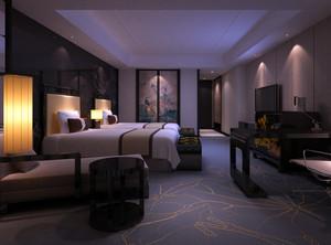 70平米中式风格传统酒店客房装修效果图