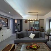 家装客厅黑色小沙发