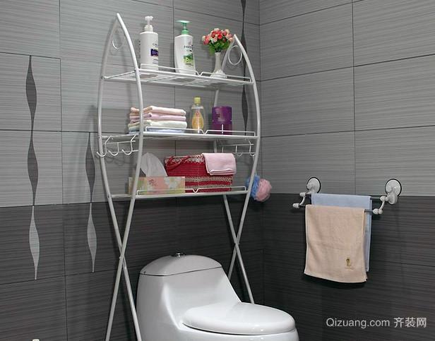 单身公寓浴室别致铁艺置物架装修效果图