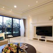 现代美式大客厅落地玻璃窗户装修效果图