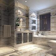 别墅欧式奢华印花卫生间墙饰装修效果图