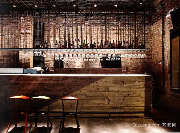 80平米简约loft风格酒吧吧台装修效果图