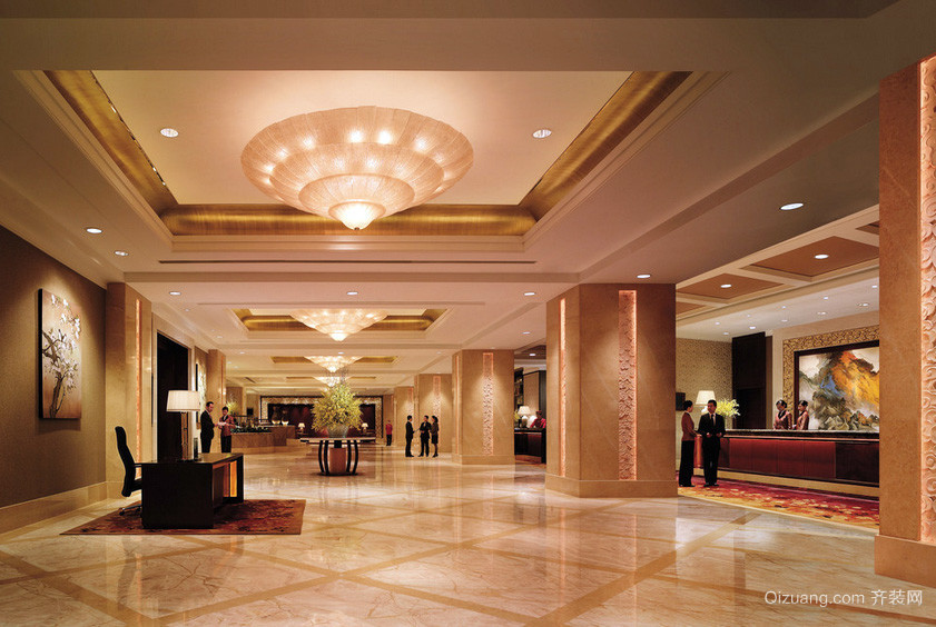 市中心豪华型酒店大堂设计装修效果图
