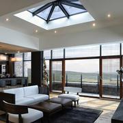 郊区别墅客厅落地玻璃窗户推拉门装修图
