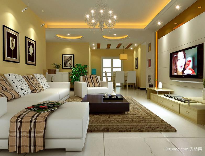 现代明亮大户型客厅装修效果图欣赏