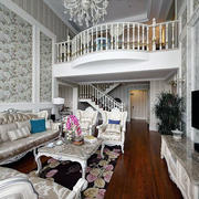高档型现代简约复式楼客厅装修效果图