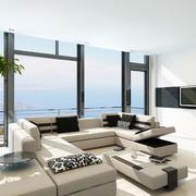 现代海景房客厅落地玻璃窗户装修效果图
