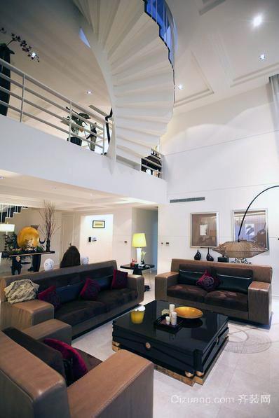 高级典雅别墅欧式吊顶装修图例