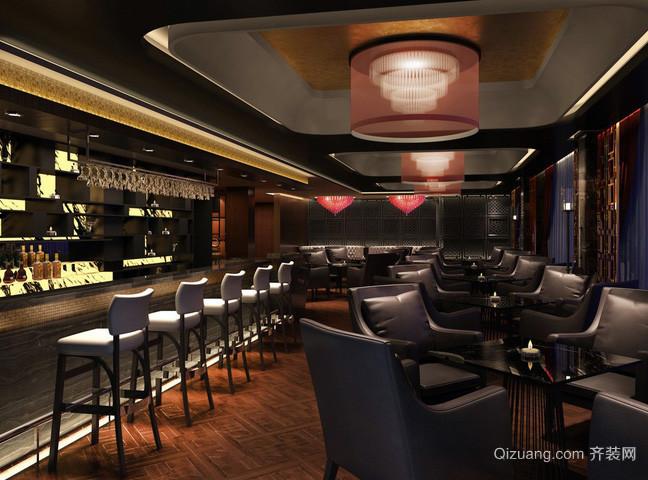 后现代风格一字型长形酒吧吧台装修图