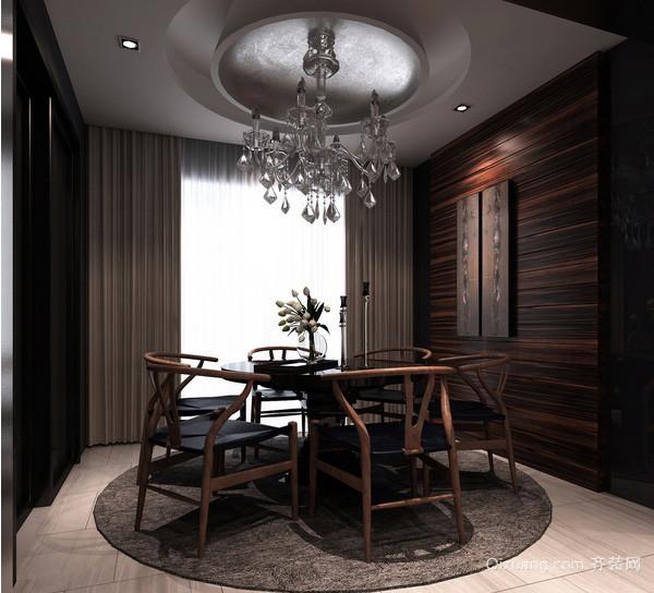 新中式风格餐厅落地玻璃窗户装修效果图