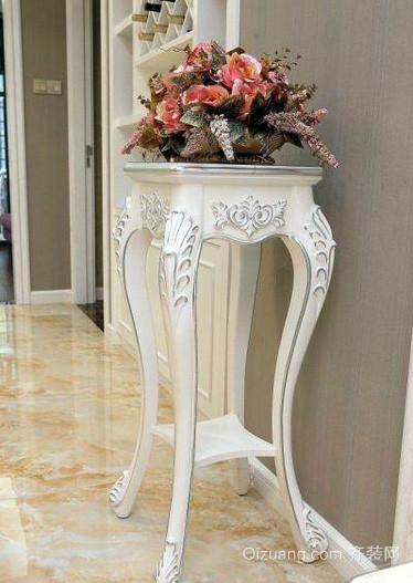 欧式风格奢华白色系客厅花架装修效果图