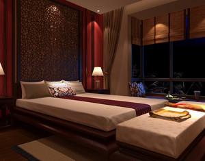 欧式深色系酒店客房榻榻米装饰效果图