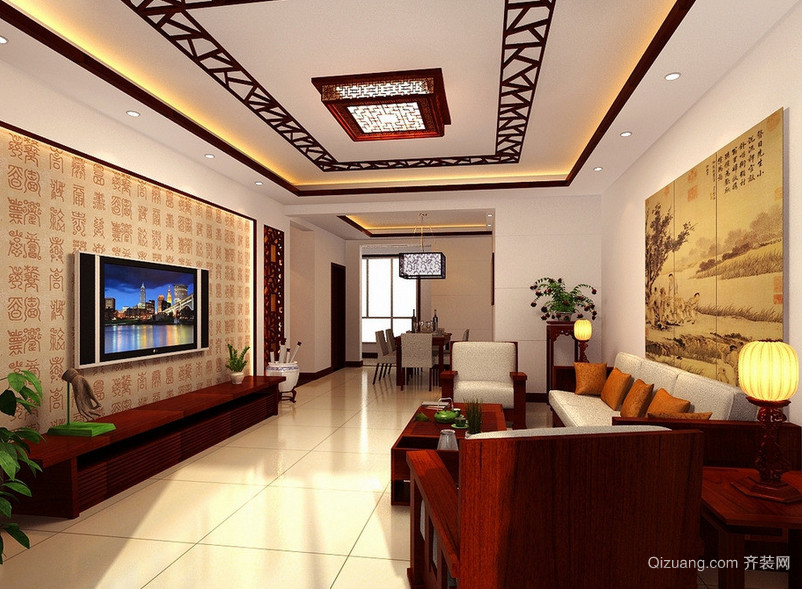完美大户型中式客厅装修效果图鉴赏
