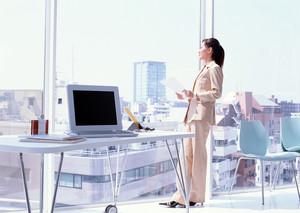 女性大型办公室落地玻璃窗户装修效果图