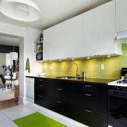 单身公寓一字型厨房大理石橱柜效果图