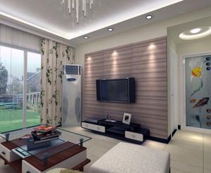 现代欧式别墅型客厅背景墙装修效果图
