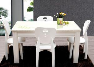 现代简约风格白色系餐厅餐桌装修效果图
