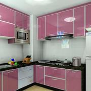 90平米家居小厨房大理石粉色橱柜效果图