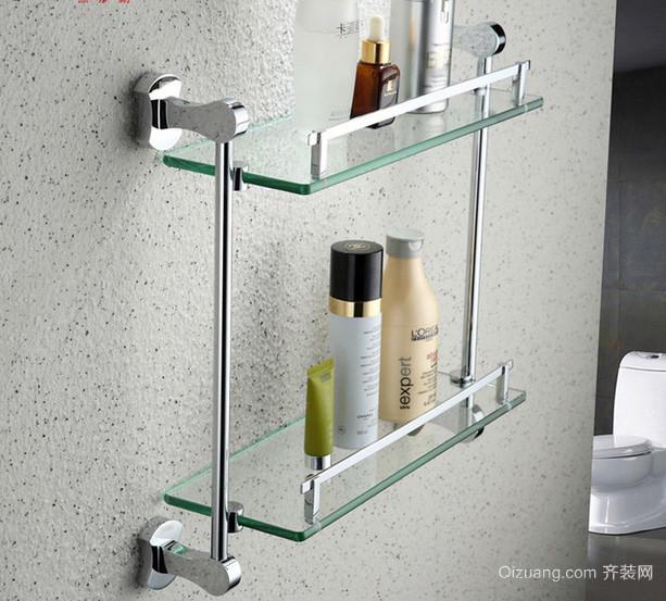 时尚小户型浴室玻璃置物架装修效果图