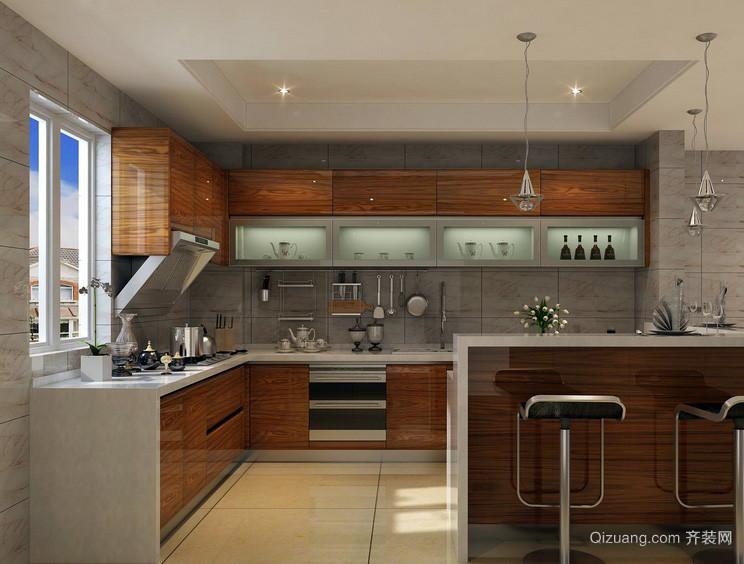 宜家现代大户型厨房大理石橱柜效果图