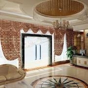 大型简欧风格宾馆大厅圆形吊顶装修效果图