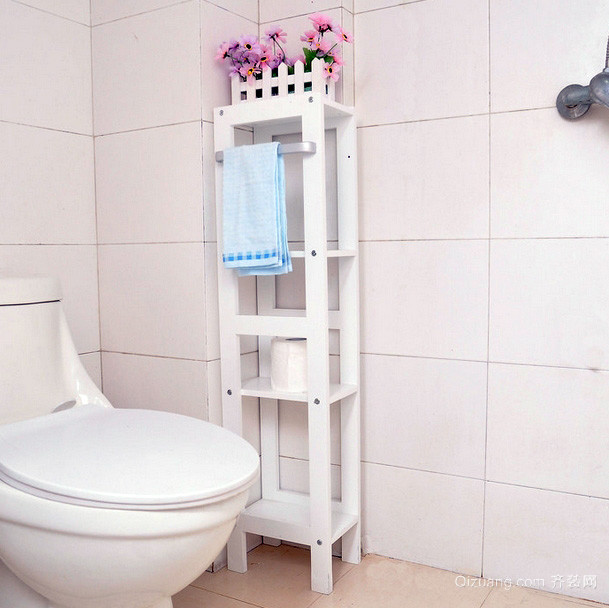 浅色小户型浴室塑料置物架装修效果图