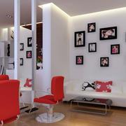 现代简约风格理发店照片墙装饰