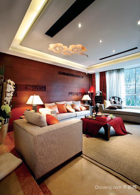美式大户型客厅装修效果图2015新款