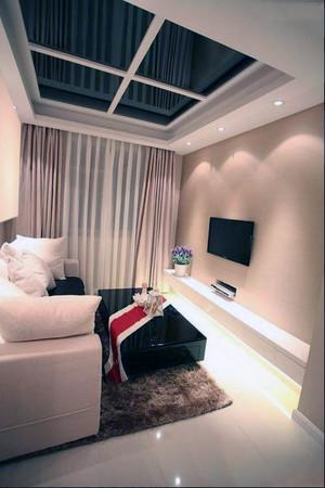 黑白风单身公寓简约吊顶装修图例