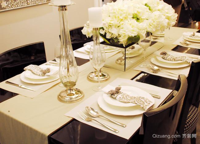 大型别墅法式风格奢华西餐桌装修效果图