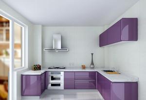 小户型家居厨房紫色大理石橱柜效果图