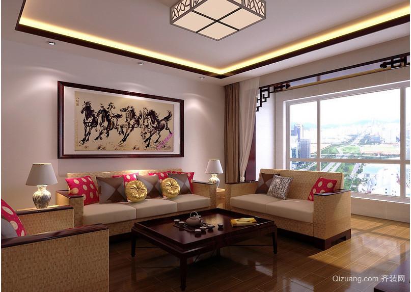 中式典雅老年公寓客厅装修效果图欣赏