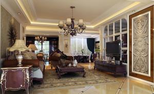 200平米现代美式客厅装修效果图
