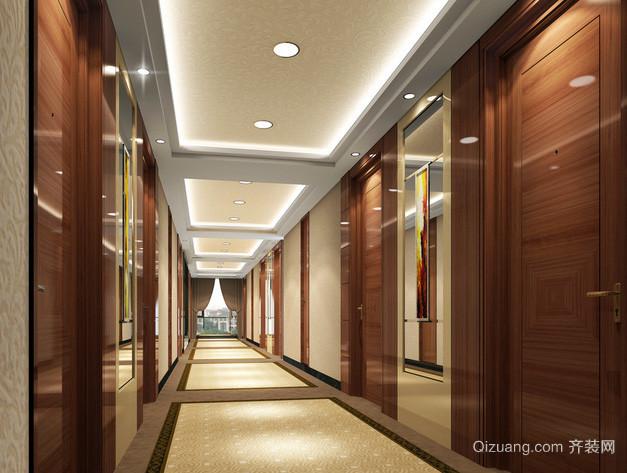 现代简约风格原木酒店客房过道吊顶装饰